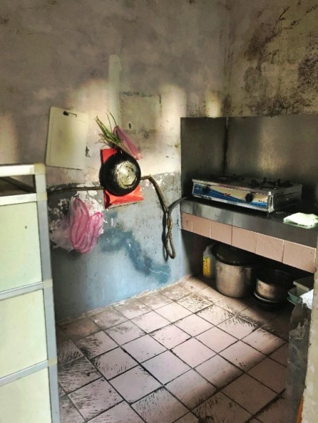 The very primitive and humble kitchen in Jay's home
